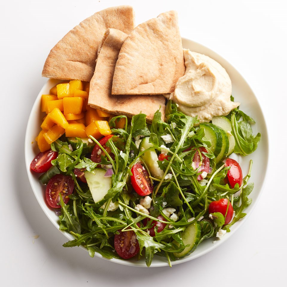 Image result for greek salad and hummus