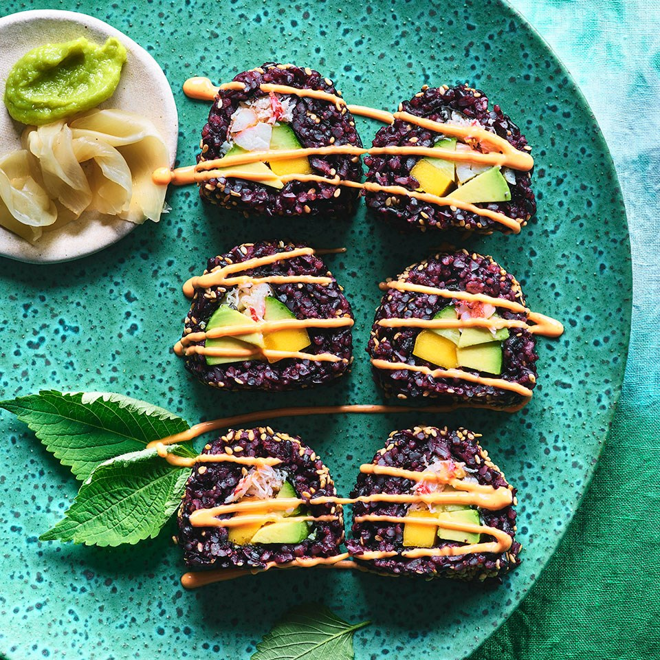 Inside-Out California Rolls with Mango & Spicy Mayo