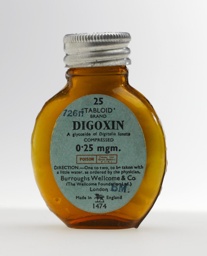 Bottle of digoxin tablets, 'Tabloid' brand
