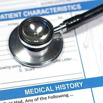A patient medical history form.