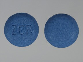 I found a round blue pill with the letters zcr on it ...