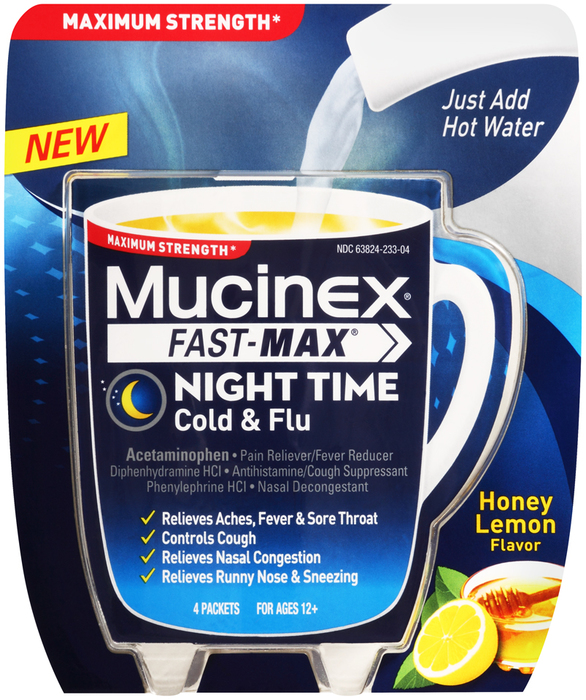 Mucinex Fast-Max Cold & Flu Powder Packets Night Time ...