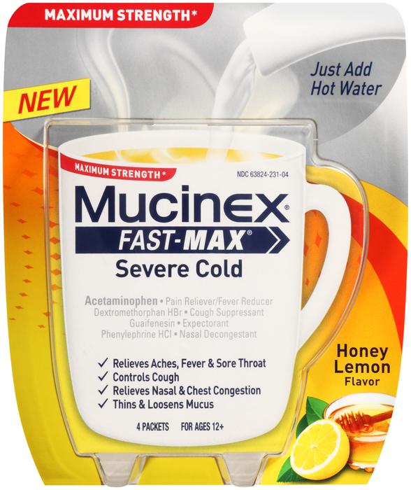 Mucinex Fast-Max Severe Cold Powder Packets Honey Lemon ...