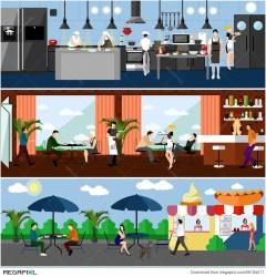 Vector Banner With Restaurant Interiors Kitchen Dining Room And Street Cafe Illustration In Flat Design Illustration 66184071 Megapixl