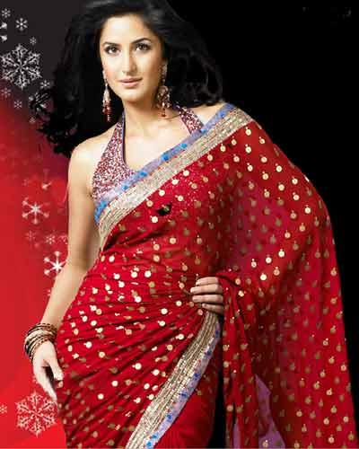 Katrina Kaif Looking Beautiful In Red Gorgeous Saree
