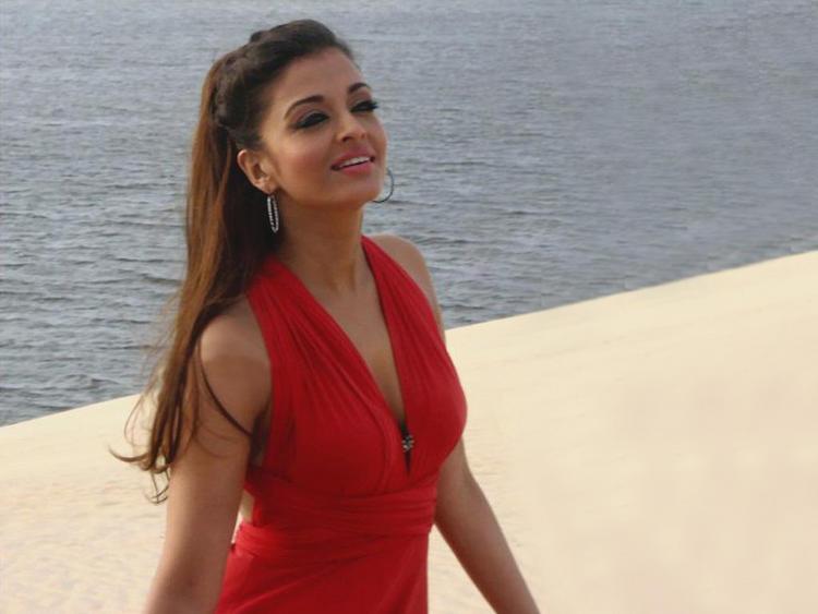 Aishwarya Rai In Red Dress Beach Photo