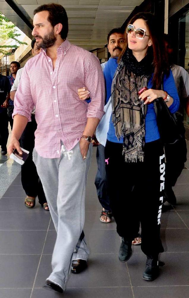 Saif And Kareena Snapped At Mumbai International Airport
