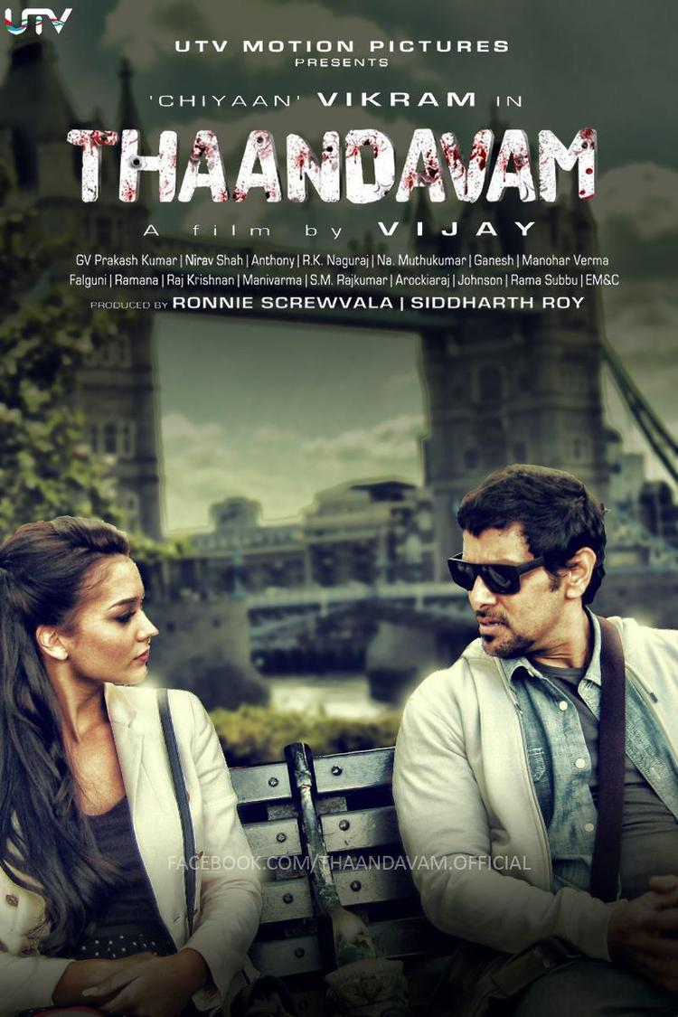 Vikram And Amy Cool Pose In Thandavam Movie Wallpaper