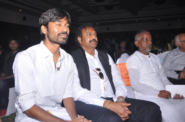 Dhanush And Ilayaraja Spotted At Maranthen Mannithen Movie Audio Launch