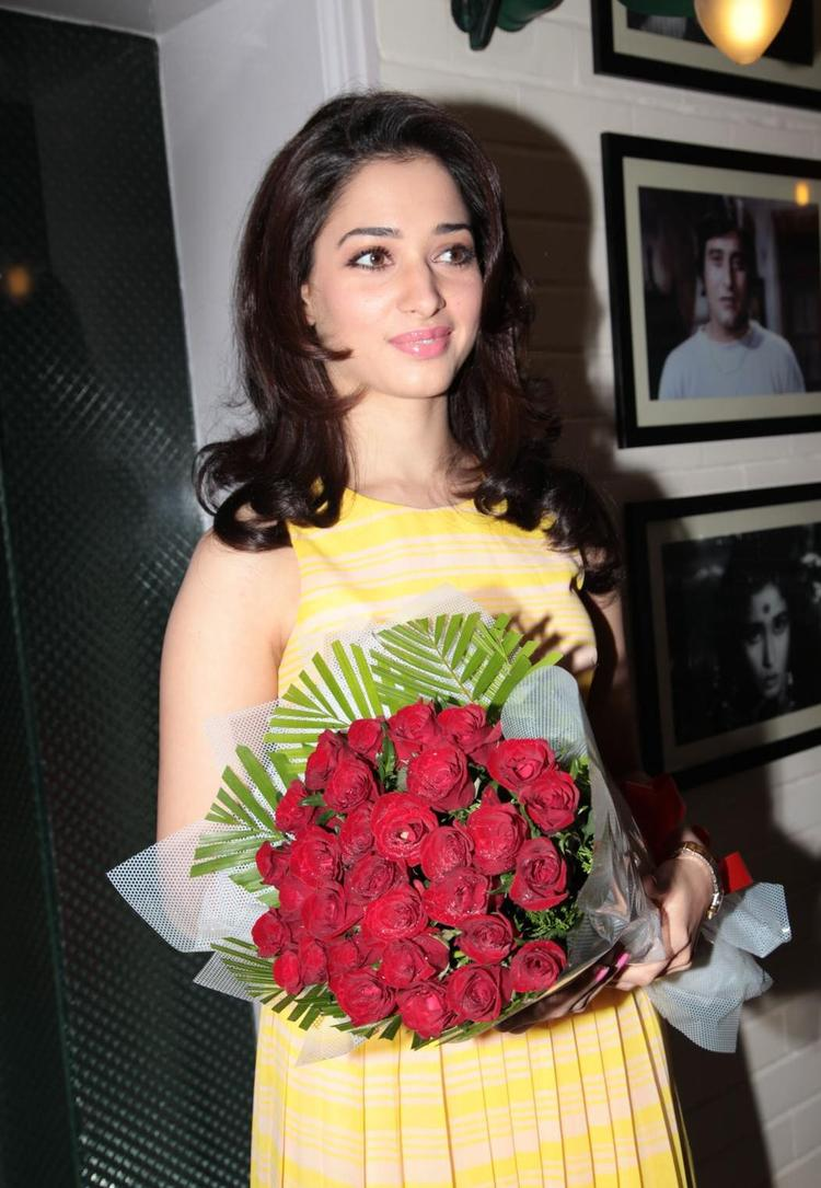 Tamanna With A Bouquet In Cake Mixing Competition