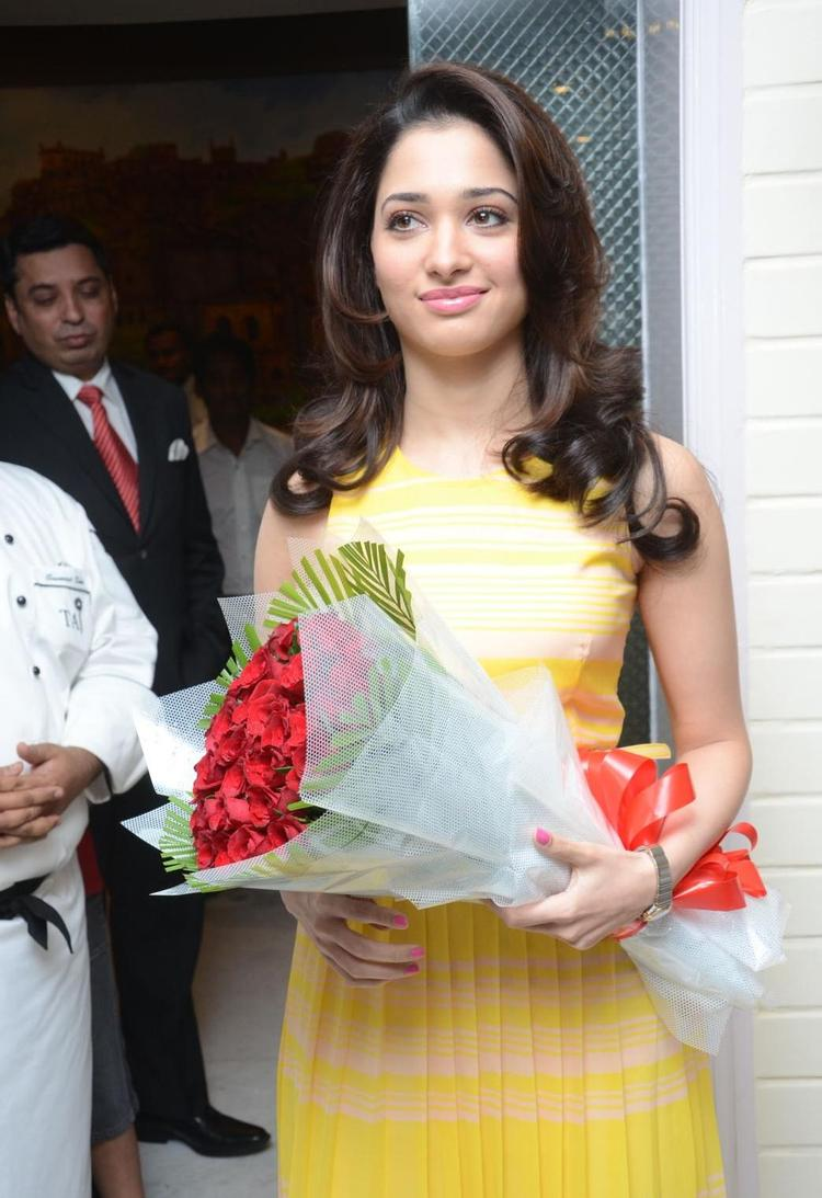 Tamanna Pose For Camera In Cake Mixing Competition