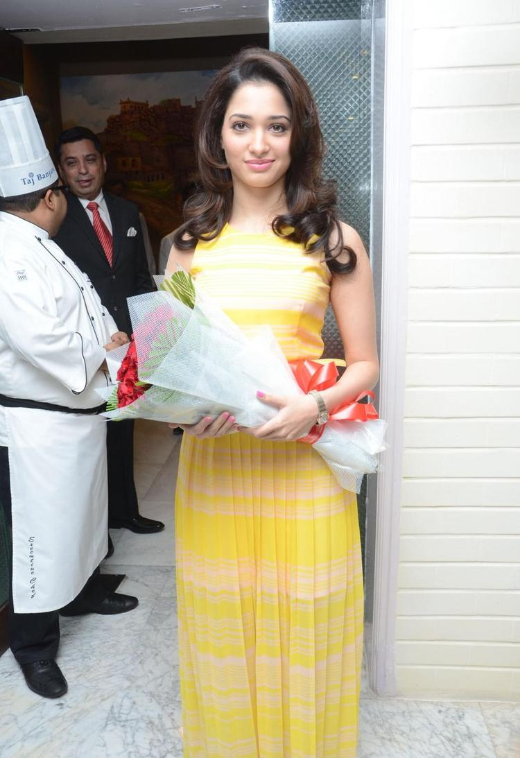 Tamanna Walks In Taj Banjara Hotel For Cake Mixing Competition