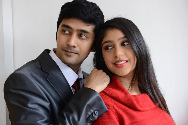 Rahul And Neethi Gorgeous Pic At Pelli Pusthakam Movie Launch Event