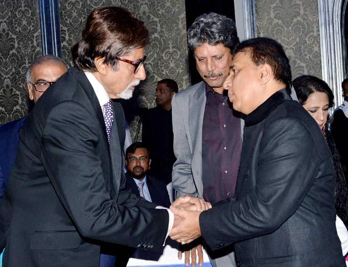 Amitabh Congratulates Sunil As Kapil Looks On At The Launch Of Ulysse Nardin 34 Watches