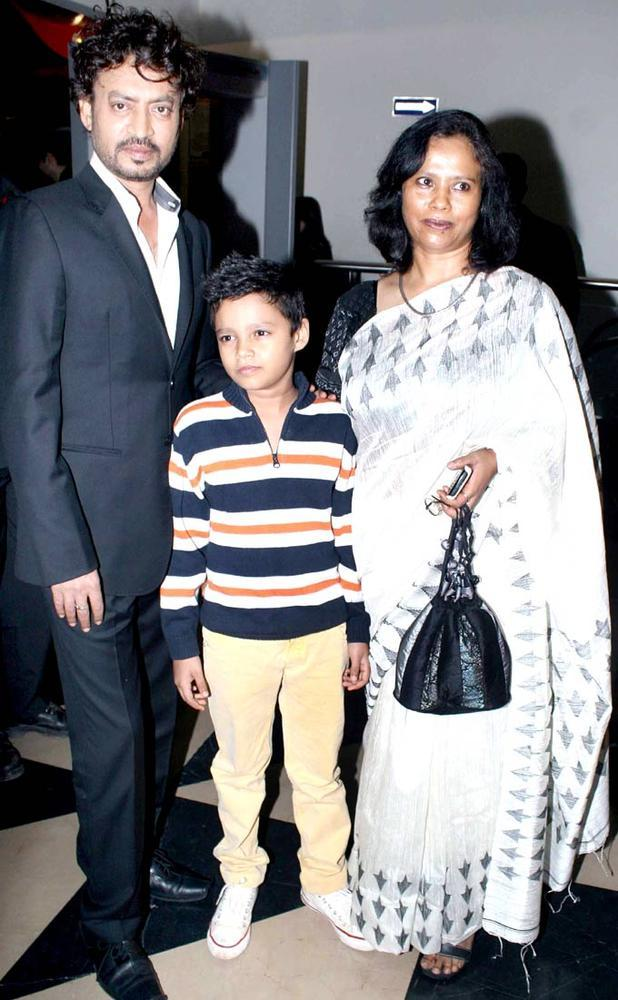 Irfan With Sutapa And Son At The Premiere Of Life Of Pi