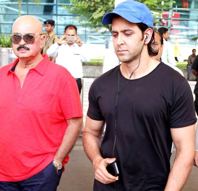 Hrithik Roshan With Dad Rakesh Roshan Snapped At Airport