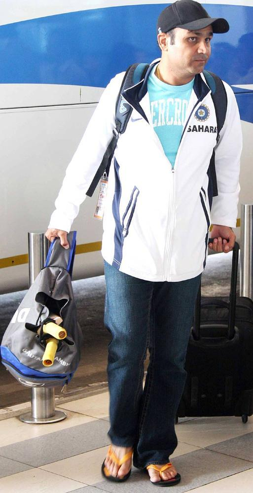 Virender Sehwag Snapped At Airport