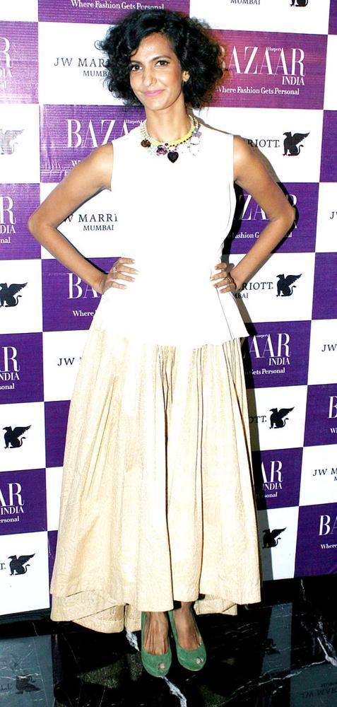 Poorna Wearing Drastha Sarvaiya Dress At The Harper's Bazaar Bash