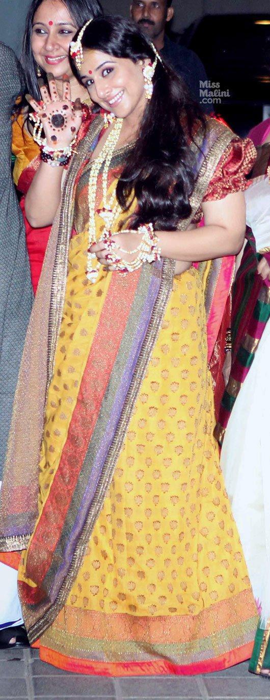 Vidya Balan Looked Ravishing In Saree At Her Mehendi Ceremony