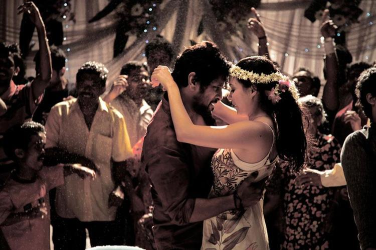 Vikram And Isha Sharvani Romance Still From Movie David