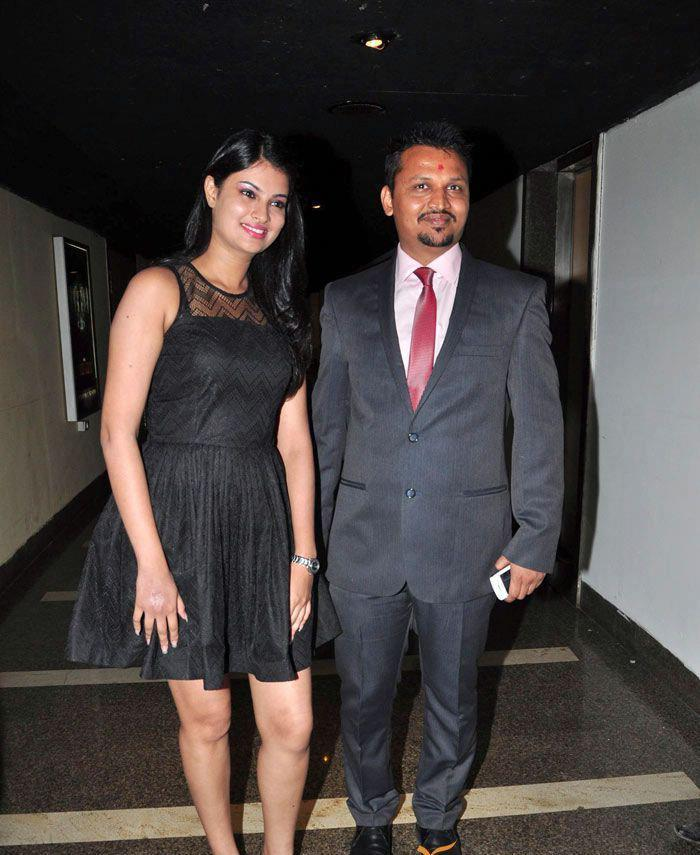 Sayali With Keval Smiling Pose At The First Look Launch Of Rajdhani Express
