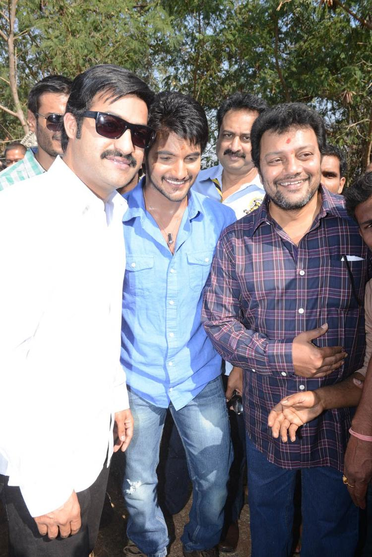 Jr NTR And Aadi Smiling Still At Aadi New Movie Launch Event
