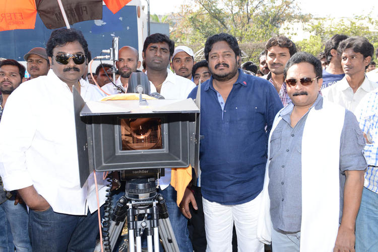 v v vinayak And Ramesh With Camera Photo At Aadi New Movie Launch Event