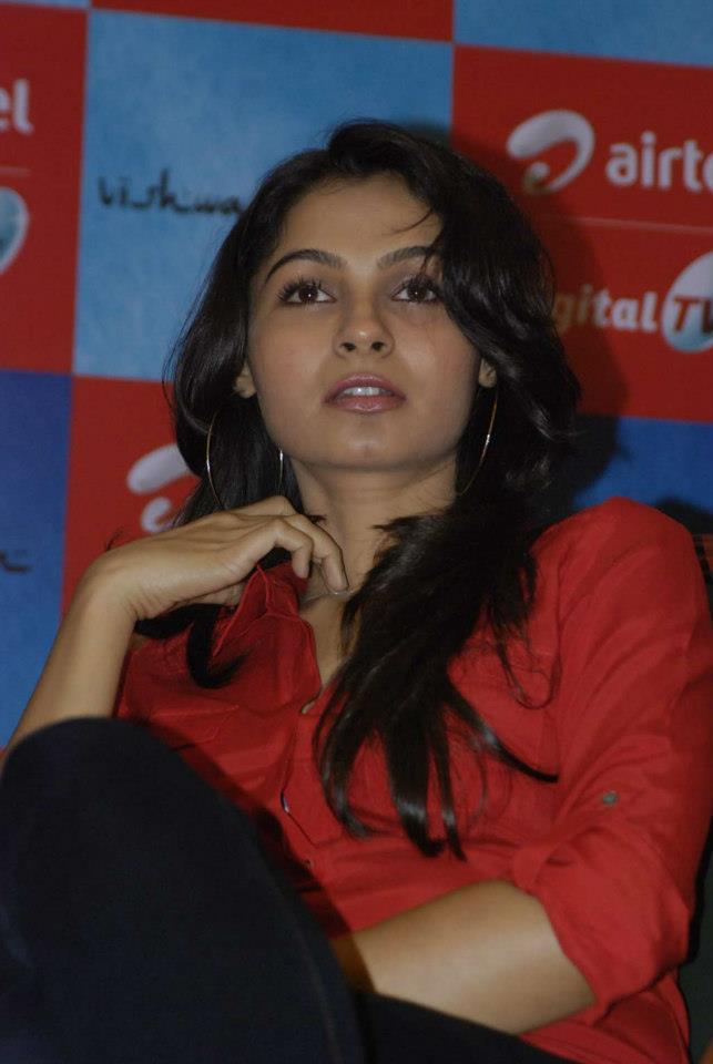 Andrea Spotted At Airtel DTH TV Launch To Promote Movie Vishwaroopam