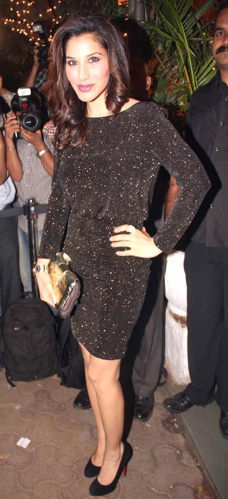 Sophie Choudry Pose For Camera At Bunty Walia Wedding Reception Bash