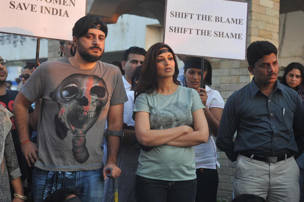 Sonali Bendre with hubby Goldie Behl Mourn For Damini By Candle Light Rally