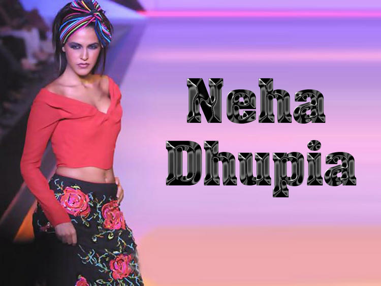 Neha Dhupia Hot Navel Show Wallpaper