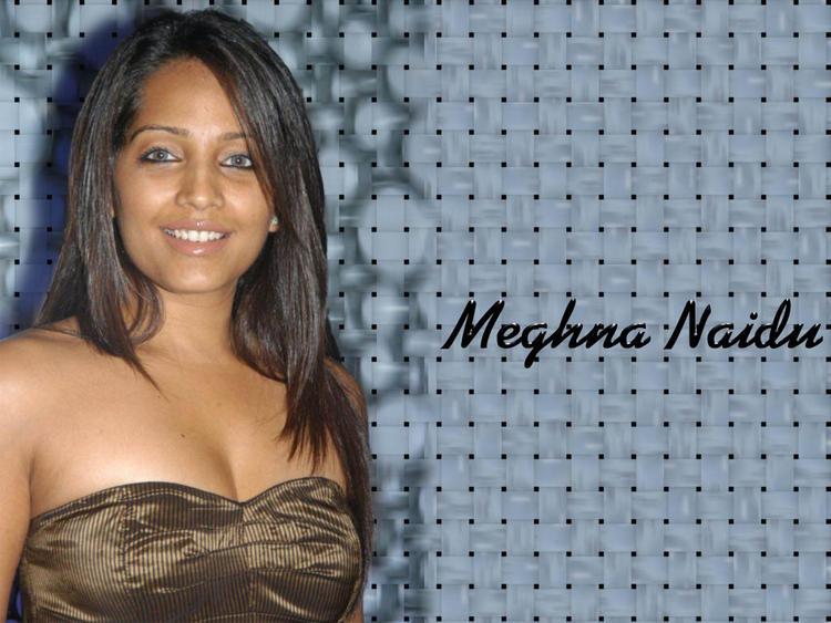 Meghna Naidu Open Boob Show Wallpaper