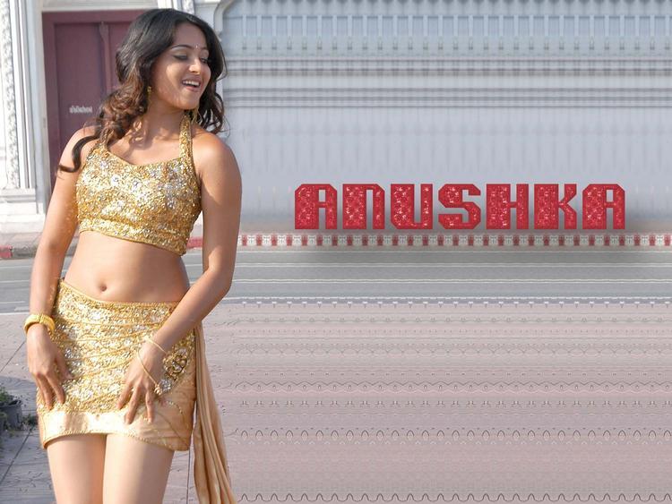 Anushka Shetty Spicy Navel Show Mini Dress Wallpaper