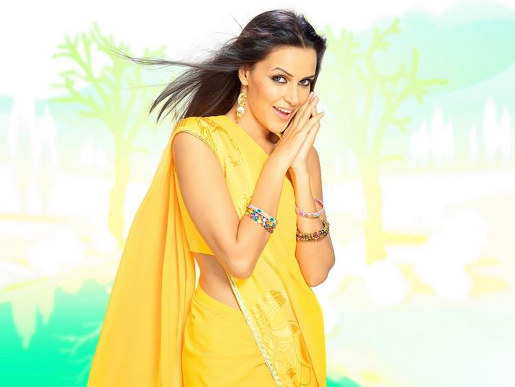Neha Dhupia Yellow Saree Sizzling Wallpaper