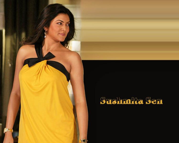 Beautiful Sushmita Sen Yellow Dress Wallpaper
