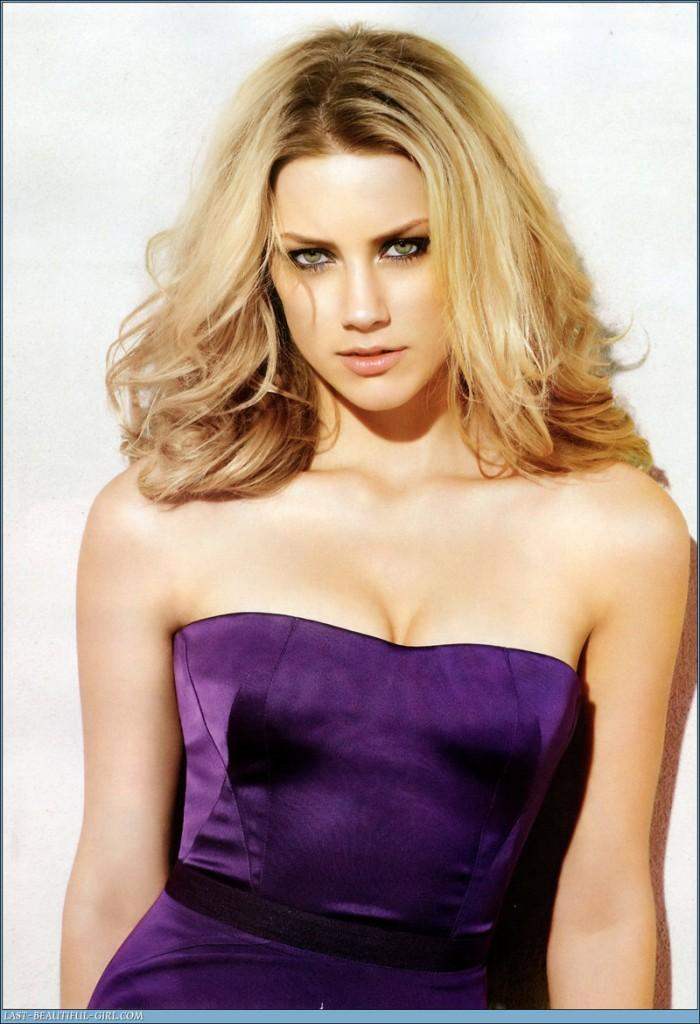 Amber Heard Deep Purple Dress Hot Photo Shoot