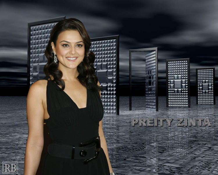 Preity Zinta Black Dress Glamour Look Wallpaper