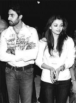 Abhishek and Aishwarya Black and White Photo