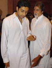 Amitabh and Abhishek In White Salwar Kameez
