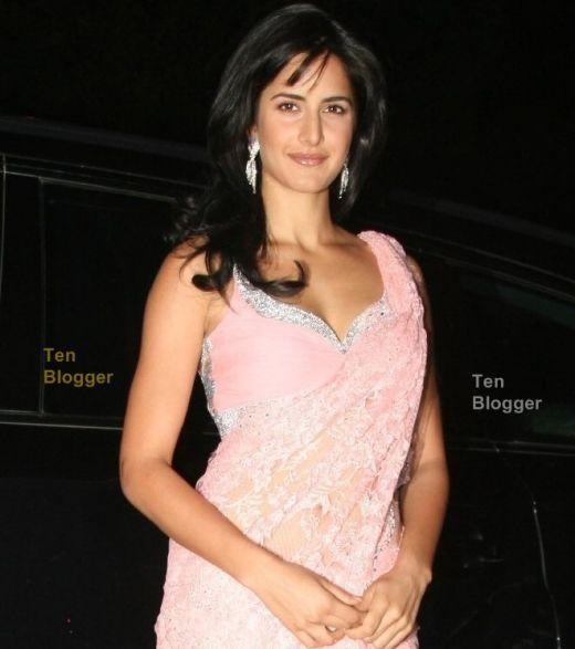 Katrina Kaif In Pink Saree Sexy pic
