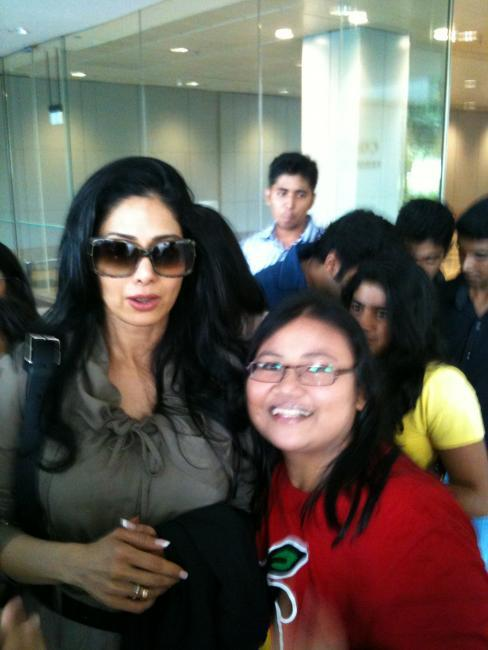 Sridevi With a Fan at Singapore International Airport