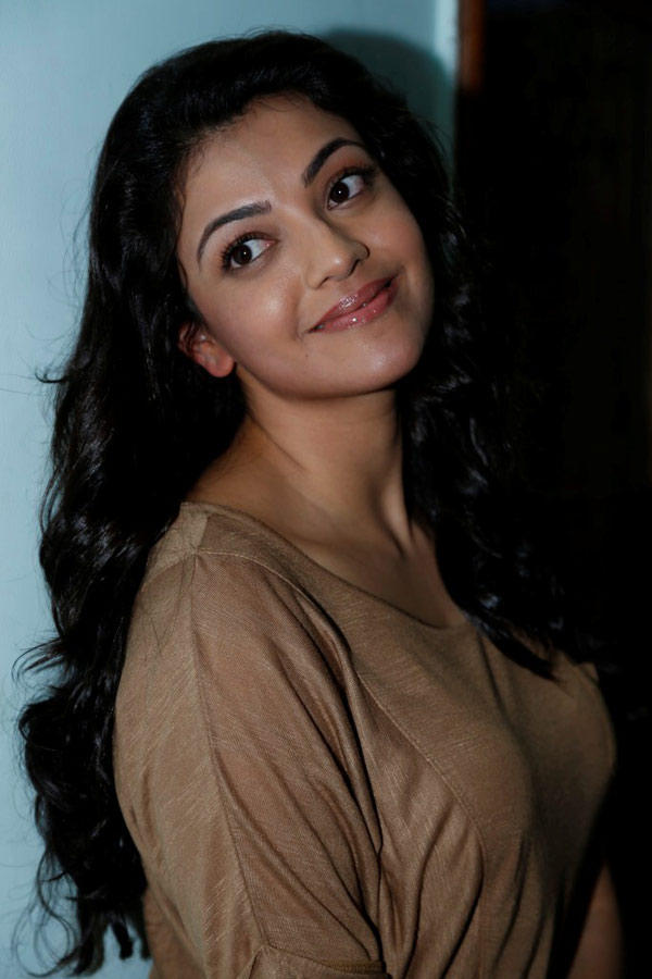 Kajal Agarwal Sizzling And Dashing Still  In A Coffee Color Top