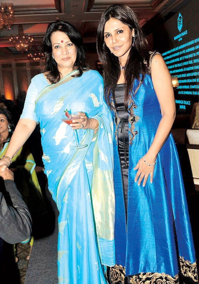Nisha Jamwal With Moon Moon Sen Posed At An Event