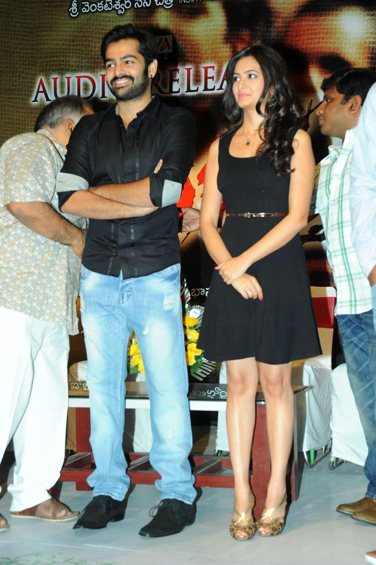 Ram Pothineni And Kriti Kharbanda Posed On Stage At Ongole Gitta Audio Release Function