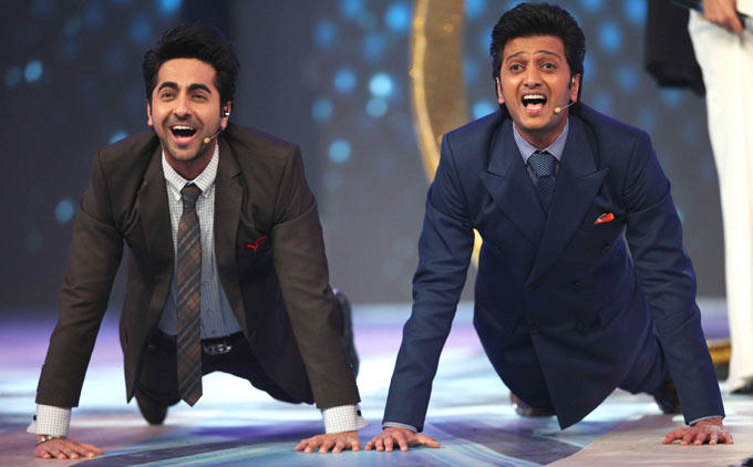 Ayushmann And Riteish In A Light Moment At The CCL Season 3 Red Carpet