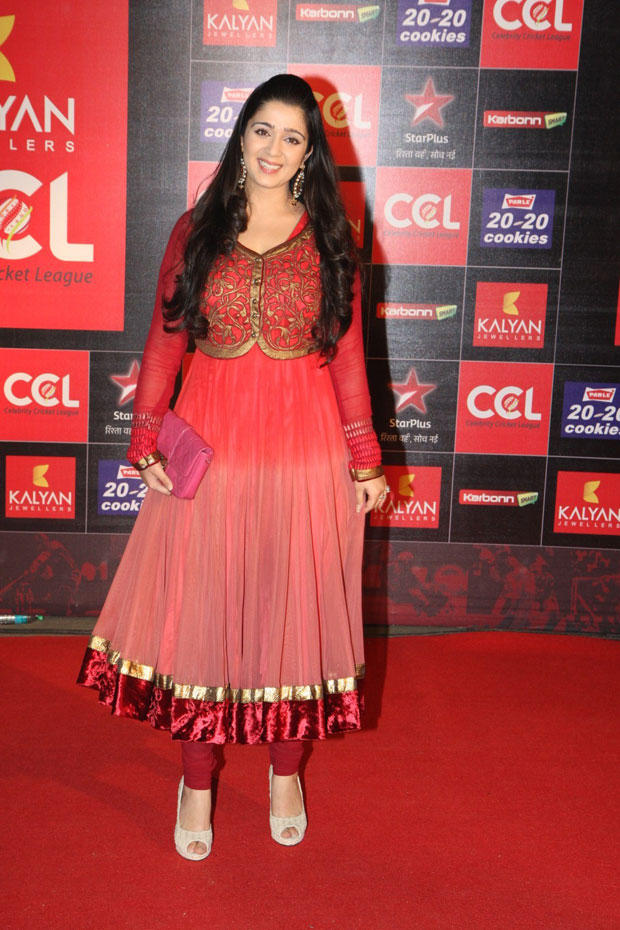 Charmy Kaur Glamour Look In Red Carpet At CCL Curtain Raiser 2013