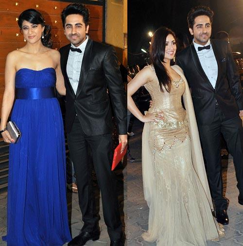 Ayushmann With Wife Tahira And Yami Posed For Camera At Filmfare Awards 2013