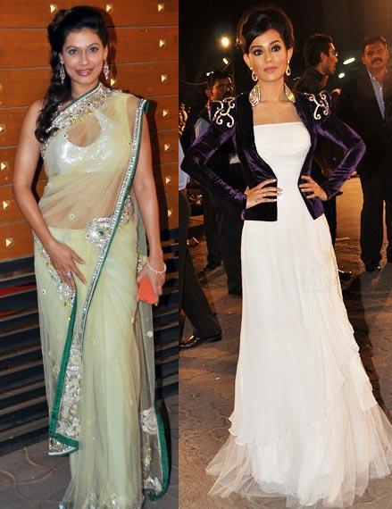 Payal And Amrita Smiling Look Pose At Filmfare Awards 2013