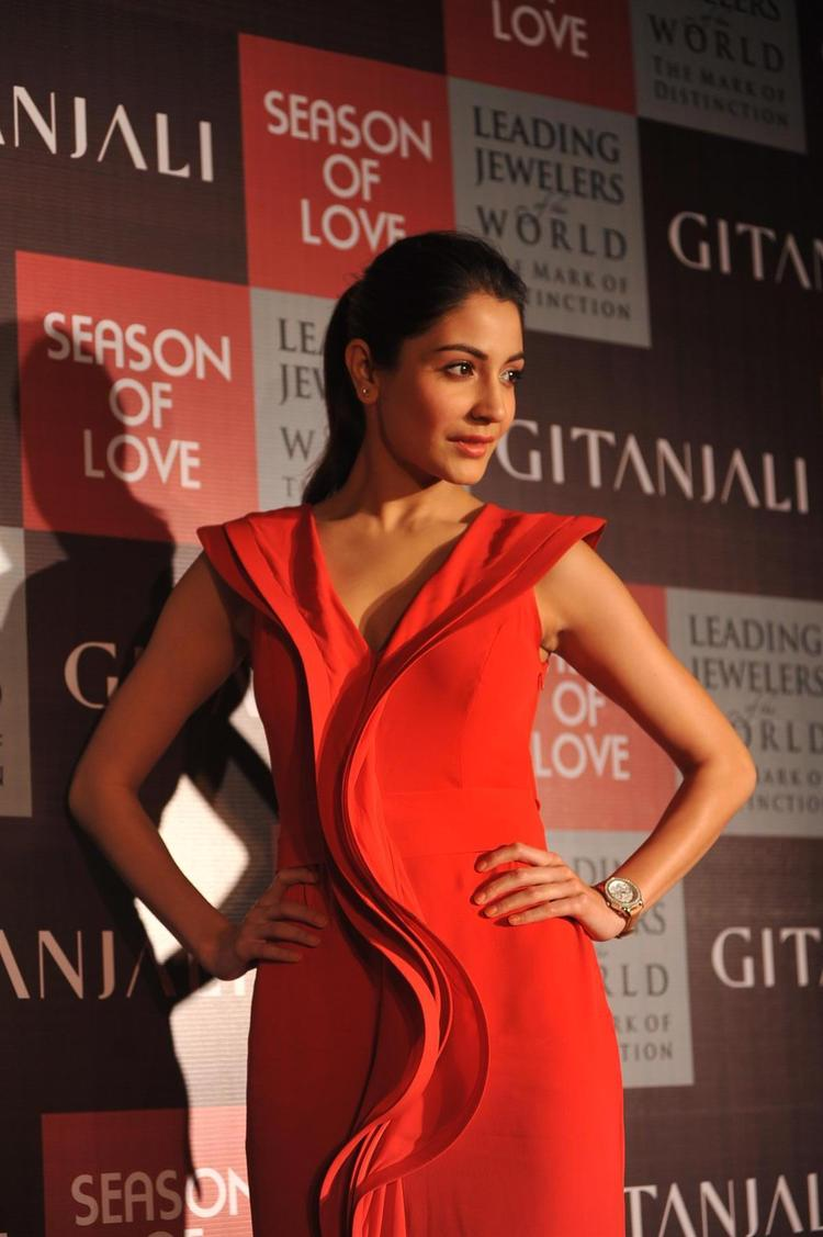 Anushka Sexy In Red Dress At The Launch Of Season Of Love Range By Gitanjali Jewels