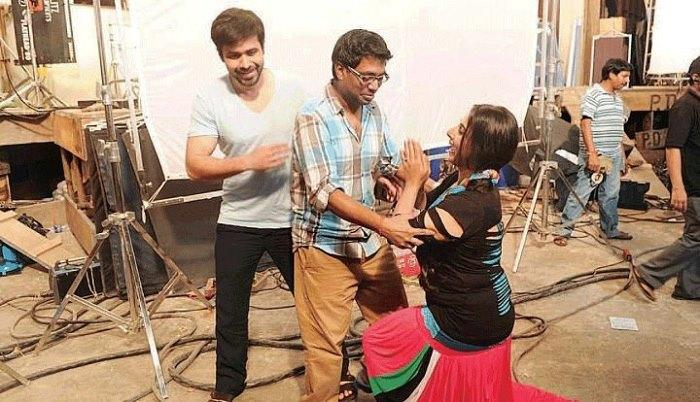 Emraan,Rajkumar And Vidya Photo Clicked During A Scene Rehearsal On the Sets Of Ghanchakkar